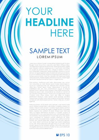 throwaway: Vector flyer, corporate business, annual report, brochure design and cover presentation with blue circle and white rectangle.