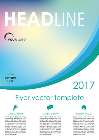 Vector flyer, corporate business, annual report, brochure design and cover presentation with blue curve