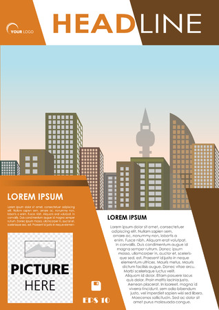 Vector flyer, corporate business, annual report, brochure design and cover presentation with brown triangle. Illustration