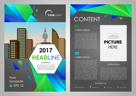 Vector flyer, corporate business, annual report, brochure design and cover presentation with blue and green triangle. Front and back page Illustration