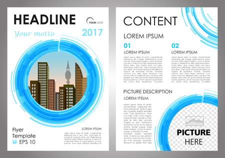 Vector flyer, corporate business, annual report, brochure design and cover presentation with vector city in blue circle Illustration