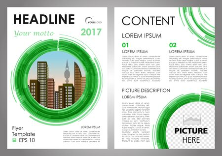 broadside: Vector flyer, corporate business, annual report, brochure design and cover presentation with vector city in green circle