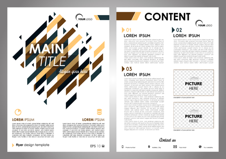 Vector flyer, corporate business, annual report, brochure design and cover presentation with blue and brown rectangle Illustration