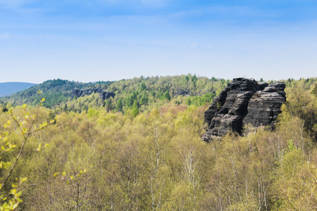 Rock mountain in Tisa overall view with trees. Czech landscape