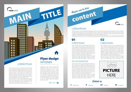 throwaway: A Vector flyer, corporate business, annual report, brochure design and cover presentation with big ribbon in blue color. Illustration