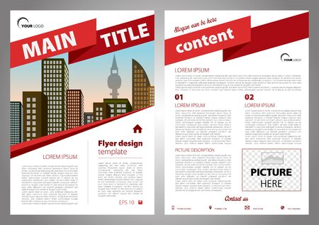 Vector flyer, corporate business, annual report, brochure design and cover presentation with big ribbon in red color.