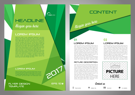 Vector flyer, corporate business, annual report, brochure design and cover presentation with green triangle.