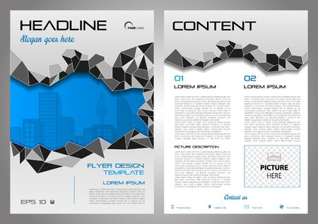 Vector flyer, corporate business, annual report, brochure design and cover presentation with grey polygons and blue city.