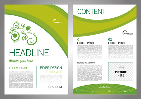 Vector flyer, corporate business, annual report, brochure design and cover presentation with floral motive on green color