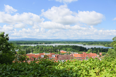 nad: View from vantage pont to village Hluboka nad Vltavou. Czech landscape Stock Photo
