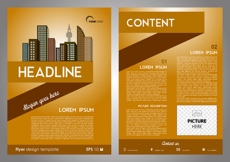 throwaway: Vector flyer, corporate business, annual report, brochure design and cover presentation with ribbon and vector city in brown color