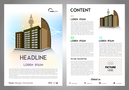 throwaway: Vector flyer, corporate business, annual report, brochure design and cover presentation with building.