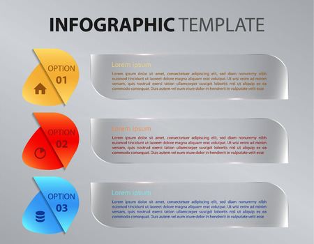 visualize: Modern colorful infographics options template vector with transparent rectangle on gradient background. Illustration