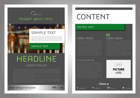 Vector ofcorporate business, annual report, brochure design and cover presentation in grey and green color.