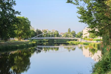 ceske: Bridge over Vltava river in Ceske Budejovice Stock Photo