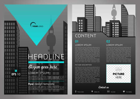 throwaway: Vector flyer, corporate business, annual report, brochure design and cover presentation with cyan triangle. Illustration