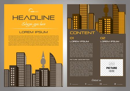 Vector flyer, corporate business, annual report, brochure design and cover presentation with brown city