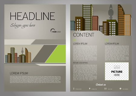 Vector flyer, corporate business, annual report, brochure design and cover presentation with green triangle Illustration
