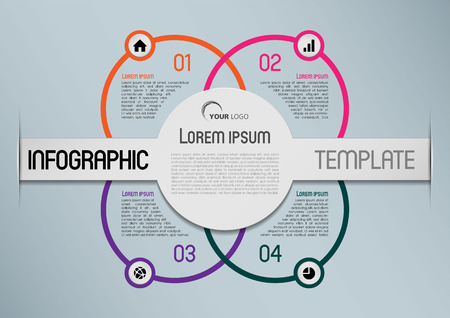 report icon: Modern infographics options template vector with colorful circle and grey background