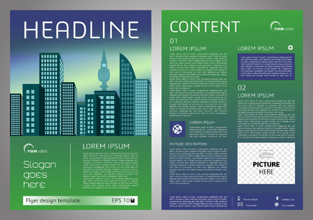 throwaway: Vector flyer, corporate business, annual report, brochure design and cover presentation with blue and green color and vector city.