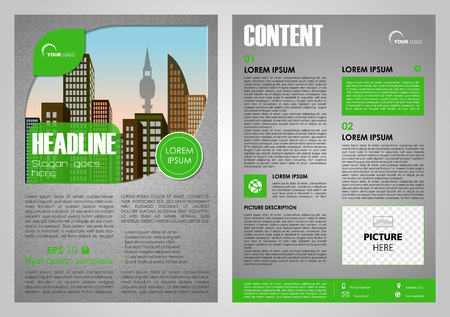 Vector flyer, corporate business, annual report, brochure design and cover presentation in green color with city in leaf.