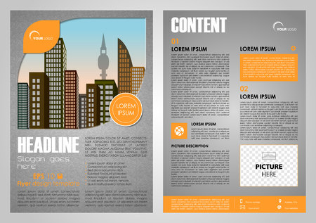 throwaway: Vector flyer, corporate business, annual report, brochure design and cover presentation in orange color with city in leaf.