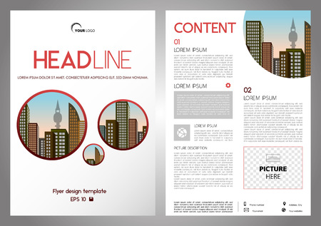 Vector flyer, corporate business, annual report, brochure design and cover presentation with red circles. Ilustração