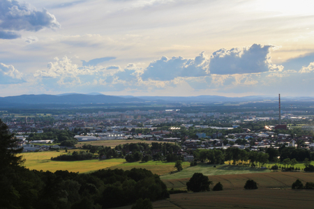 Panoramatic view on city Ceske Budejovice with Black tower Reklamní fotografie