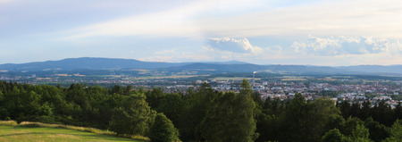 Panoramatic view on city Ceske Budejovice from hill