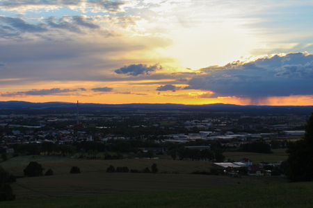 budejovice: Panoramatic view on city Ceske Budejovice in sunset, close photo