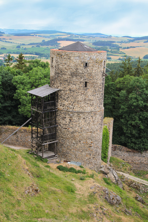 Main tower of old castle ruin Helfenburk from tower view. Czech landscape