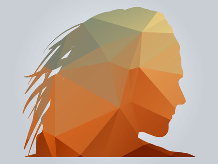Polygonal woman silhoutte vector illustration on gradient background