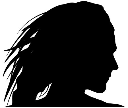 Black woman silhoutte vector illustration on white background