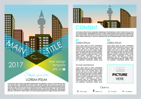 broadsheet: Vector flyer, corporate business, annual report, brochure design and cover presentation with blue triangle Illustration