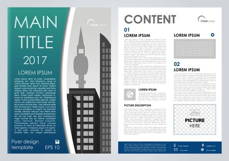 magazine design: Vector flyer, corporate business, annual report, brochure design and cover presentation with blue rectangle.