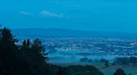budejovice: City in morning fog with trees, Ceske Budejovice, czech landscape