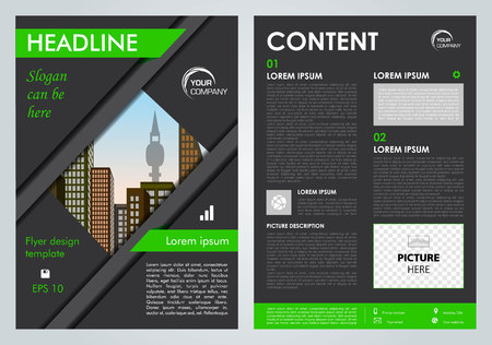 Vector flyer, corporate business, annual report, brochure design and cover presentation with green lines.
