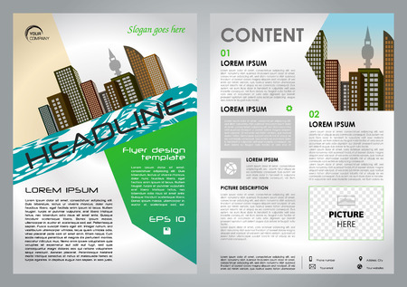 Vector flyer, corporate business, annual report, brochure design and cover presentation with green color.
