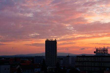 High building in Ceske Budejovice in sunset