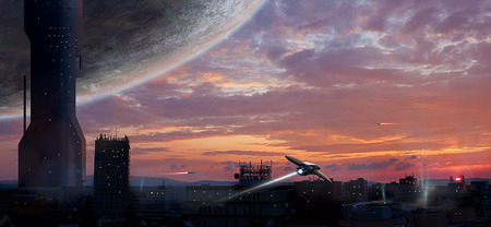 Sci-fi city with planet and spaceships, photo manipulation Stock Photo