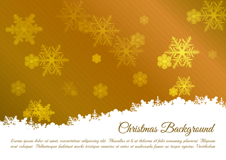 Christmas vector background with snowflakes in gold color