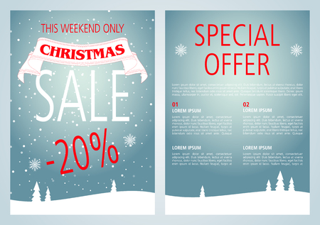 A vector Christmas sale flyer design with light blue color.