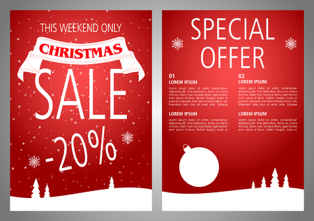 A vector Christmas sale flyer design in red color. Illustration