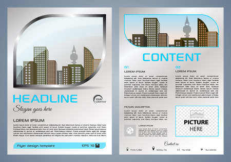 Brochure design and cover presentation with metal window. Ilustração