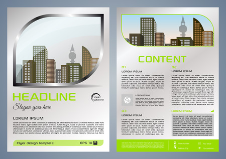 Vector flyer, corporate business, annual report, brochure design and cover presentation with metal window and green color