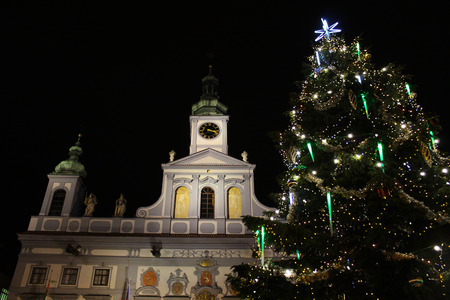 CESKE BUDEJOVICE, CZECH REPUBLIC - December 2, 2017: The historic city center. Christmas tree with town hall Editorial