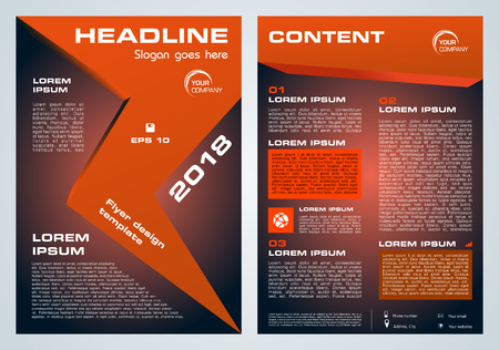 Vector flyer, corporate business, annual report, brochure design and cover presentation with red arrow