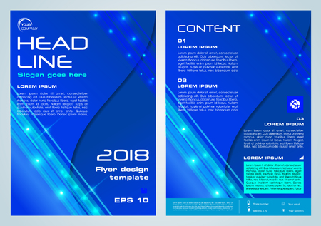 Corporate business annual report brochure design and cover presentation in blue color.