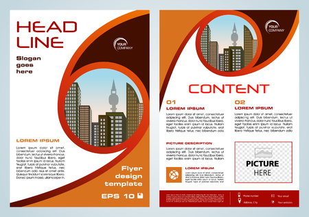 Vector flyer, corporate business, annual report, brochure design and cover presentation with brown and orange circle. Illustration