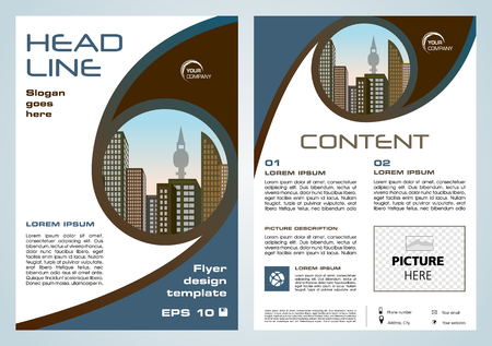 Vector flyer, corporate business, annual report, brochure design and cover presentation with brown and blue circle.